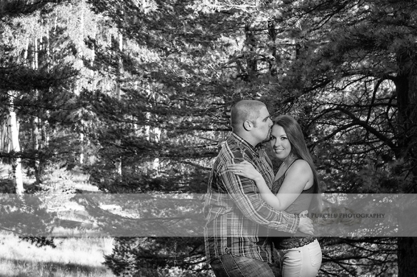 Alex and Holly, engagement session, portrait, sunset, kiss, flagstaff