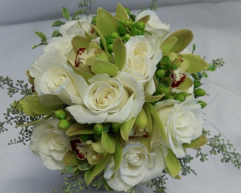 green orchid and white rose wedding bouquet